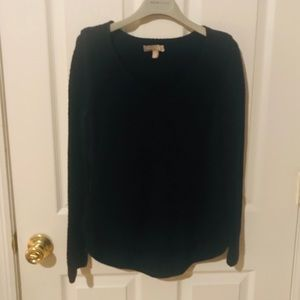 Navy blue knit v neck sweater with side zippers